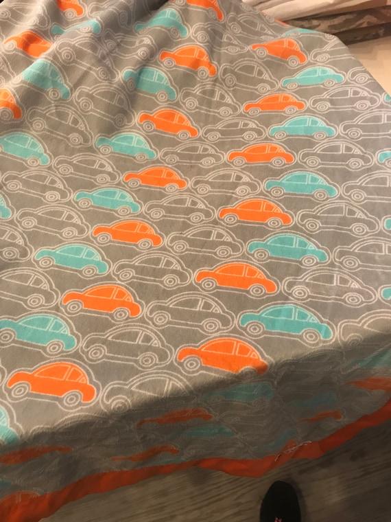 Cars minky and satin blanket orange gray turquoise 30 x 35