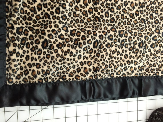 Minky cheetah 30 x 35 baby car seat blanket with gold satin backing and black binding