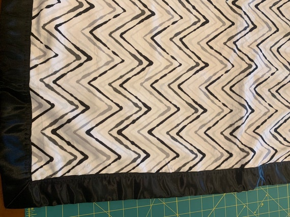 Grey white black chevron minky and satin baby blanket 30 x 35