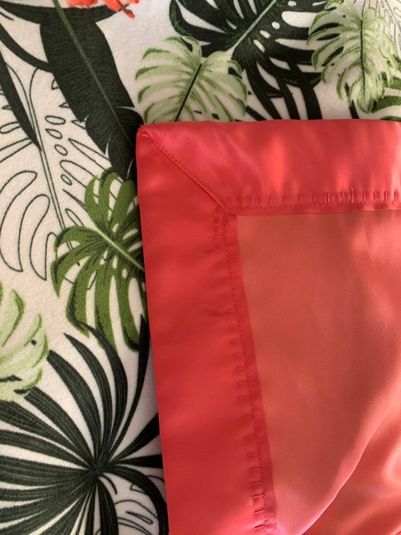 Tropical print minky and satin baby blanket 30 x 35