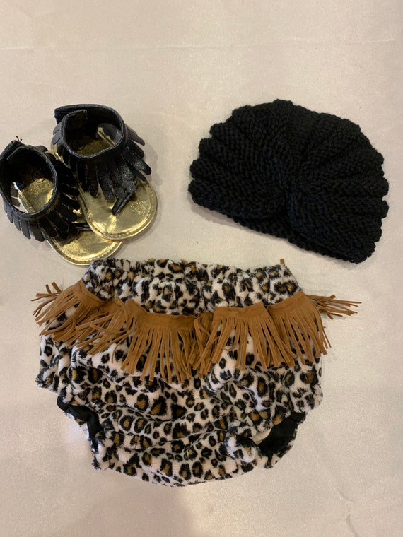 Minky cheetah bloomers with leather fringe