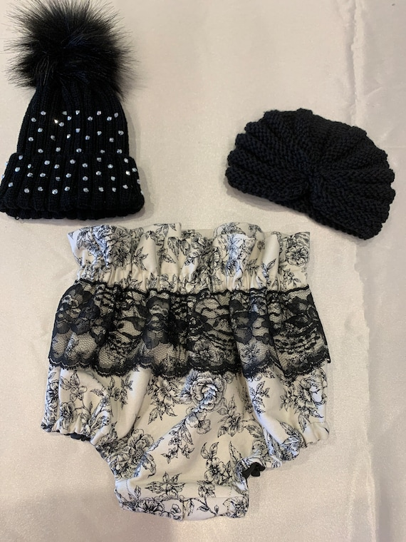High waisted ivory and black bloomers with lace