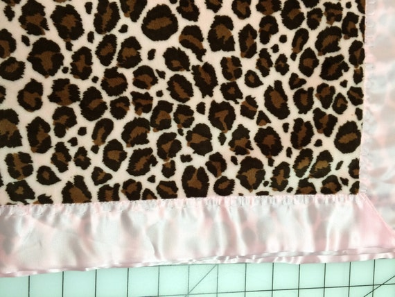 30 x 35 Pink cheetah minky baby blanket with satin backing and binding