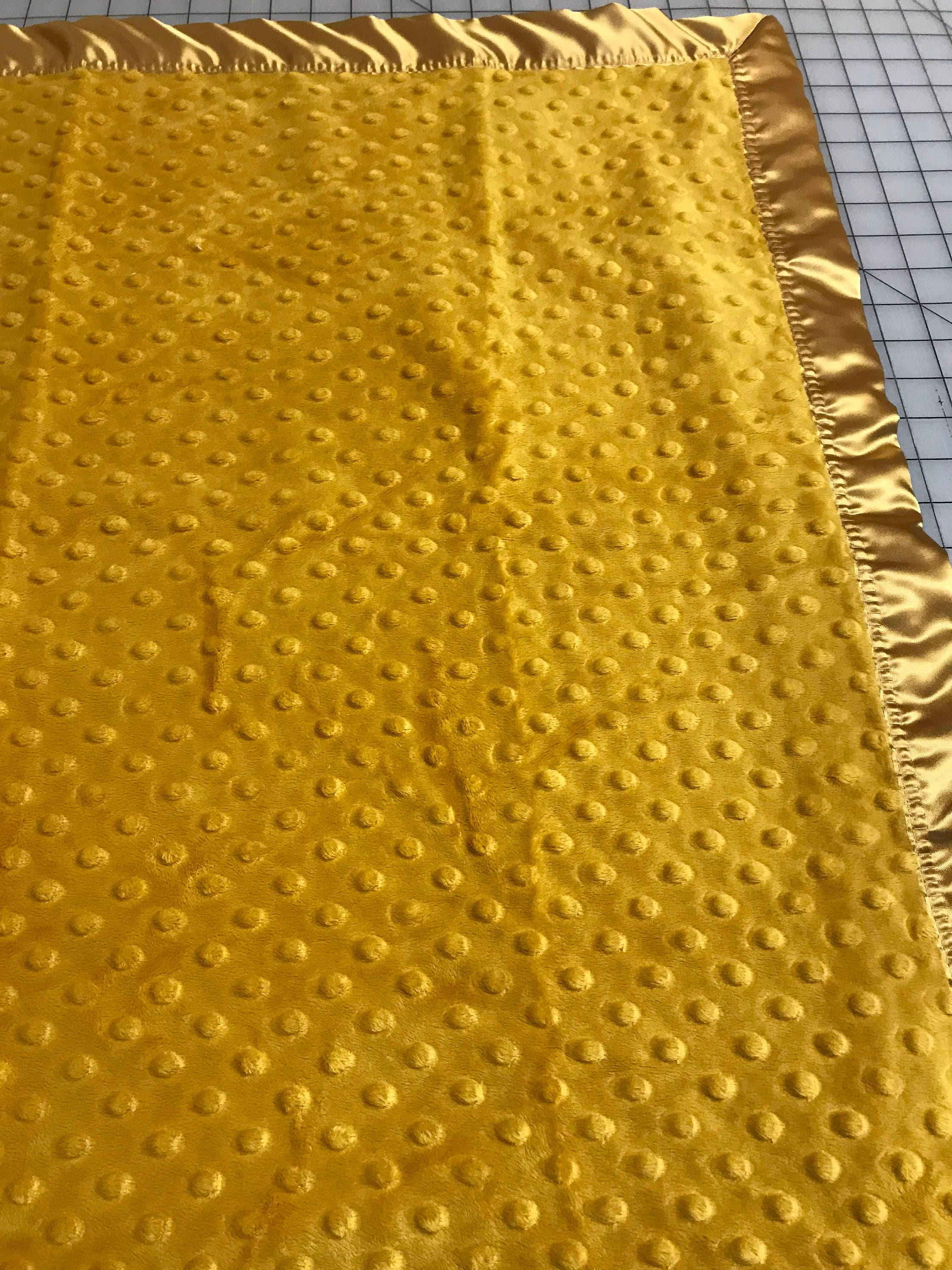 29 X 34 Gold Minky Dot Baby Blanket With Red Satin Backing