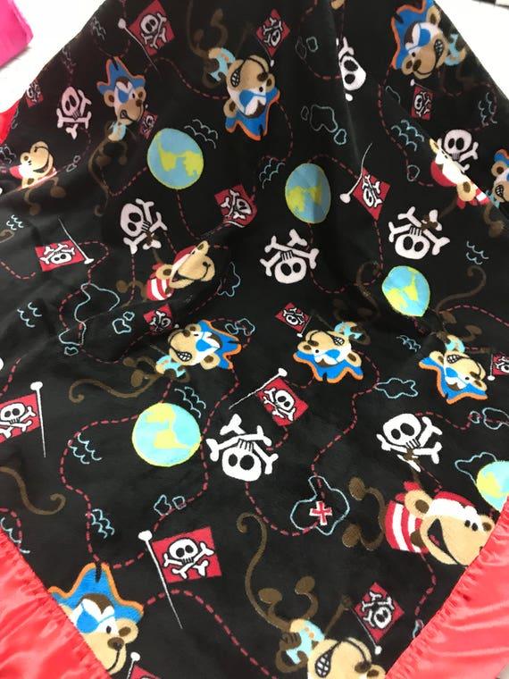 Pirate monkeys black and red satin minky blanket 30 x 35