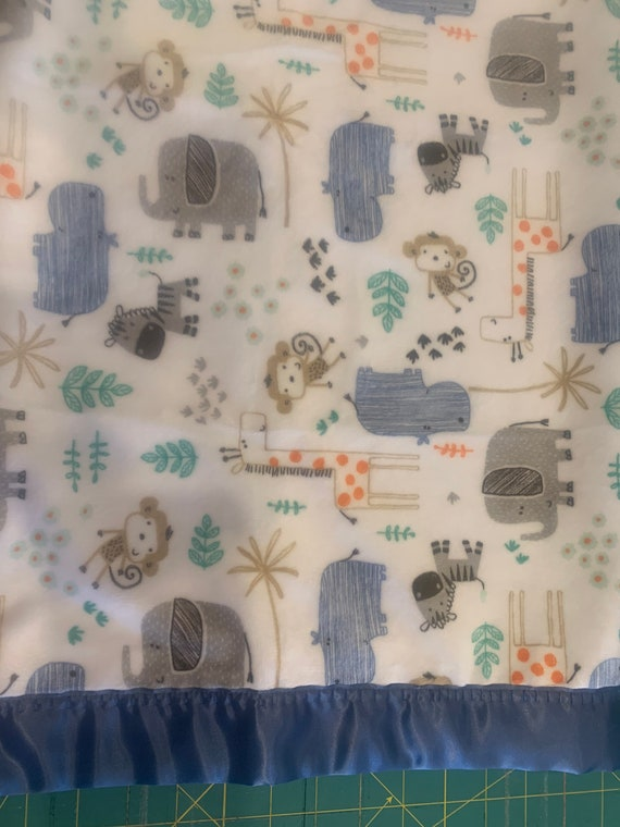 Safari animals minky 30 x 35 baby blanket