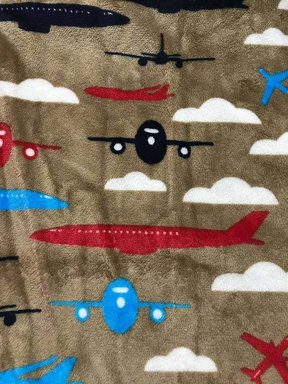Airplanes aloft minky and satin baby blanket 30 x 35