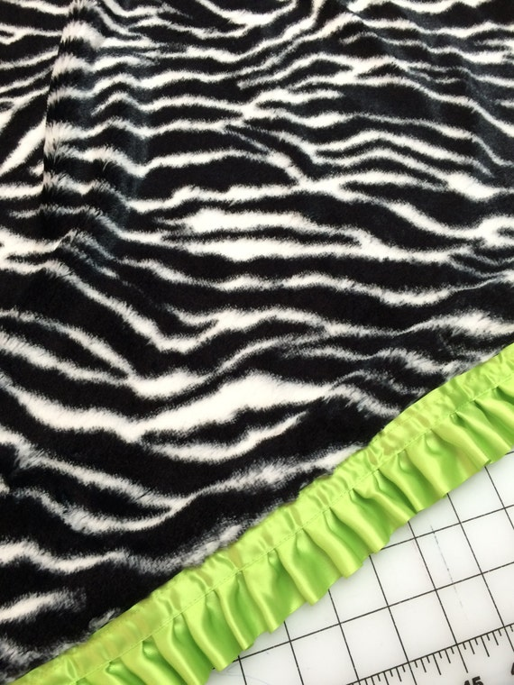 Minky zebra 32 x 34 baby blanket with lime satin backing and ruffle