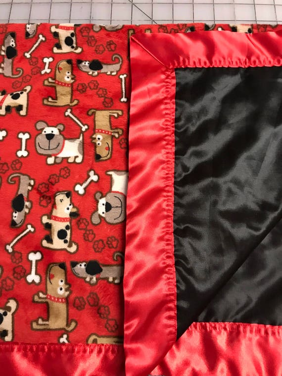 30 x 35 Dogs and puppies black and red minky and satin baby blanket
