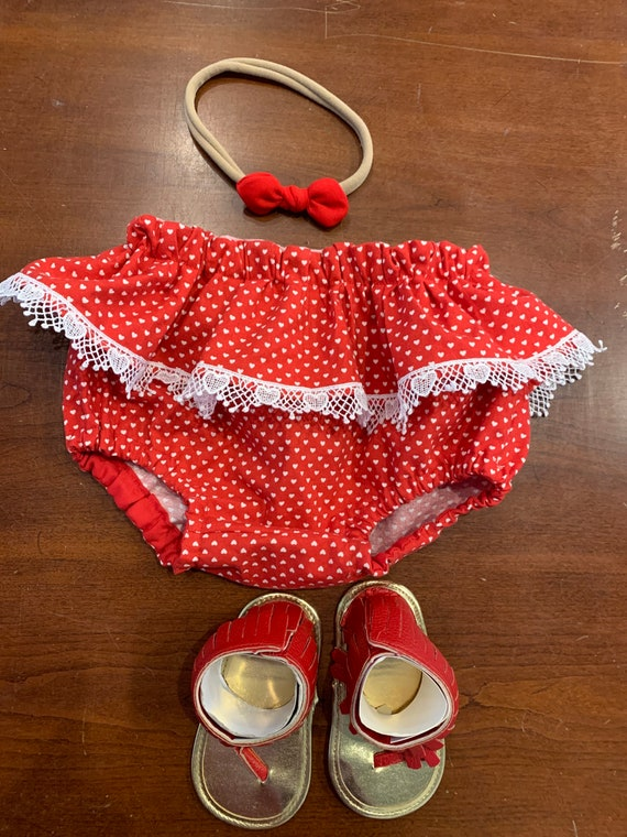 Red Valentines heart ruffle bloomers