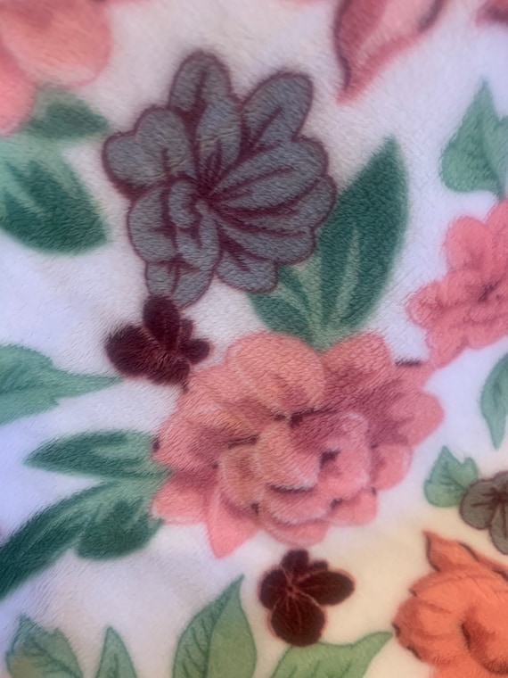 Floral minky and satin 30 x 35 baby blanket