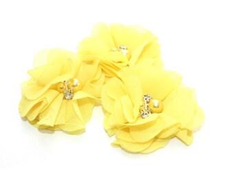 3 Mini Rhinestone Chiffon Flowers--Golden Yellow