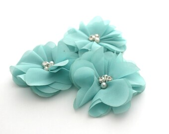 3 Rhinestone Chiffon Flowers--Aqua