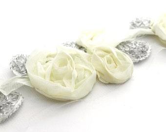 2 Silver Leaf Trio Flowers--Ivory
