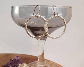 Handmade earrings with fused fine silver circles and sterling silver earhooks