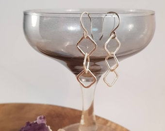 Handmade earrings with fused fine silver and sterling silver earhooks, Dangly, Squares