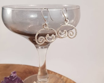 "Handmade earrings with fused fine silver and sterling silver earhooks, ""Purr"", Cat, Kitty, Made to order"