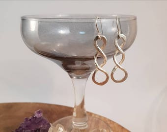 Handmade earrings with fused fine silver and sterling silver earhooks