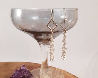 Handmade tassel earrings with fused fine silver and sterling silver earhooks