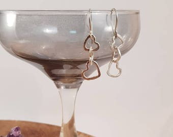 Handmade earrings with fused fine silver and sterling silver earhooks, Hearts, Dangly