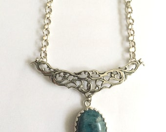 Sterling Silver Vintage Inspired Necklace with Blue Apatite