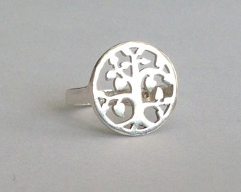 Unique Angeline Quinn Sterling Silver Tree of Life Ring