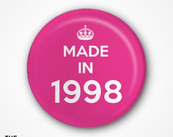 19th Birthday Pin Badge or Magnet. Available as 2.5cm Pin Badge or 3.8cm Pin Badge or Magnet
