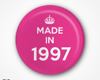 20th Birthday Pin Badge or Magnet. Available as 2.5cm Pin Badge or 3.8cm Pin Badge or Magnet