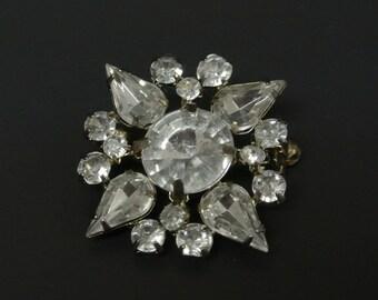 Vintage Snowflake Clear Rhinestone Brooch Pin