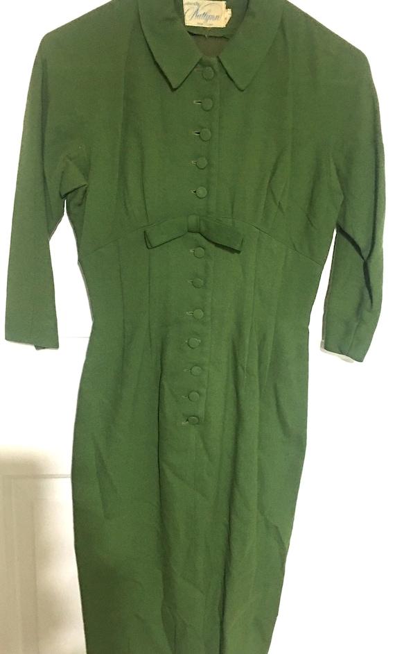 Vintage 1950's Natlynn New York Green Knee Length