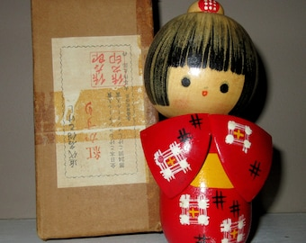 Vintage Japanese Wooden Kokeshi Doll Hand Painted Red