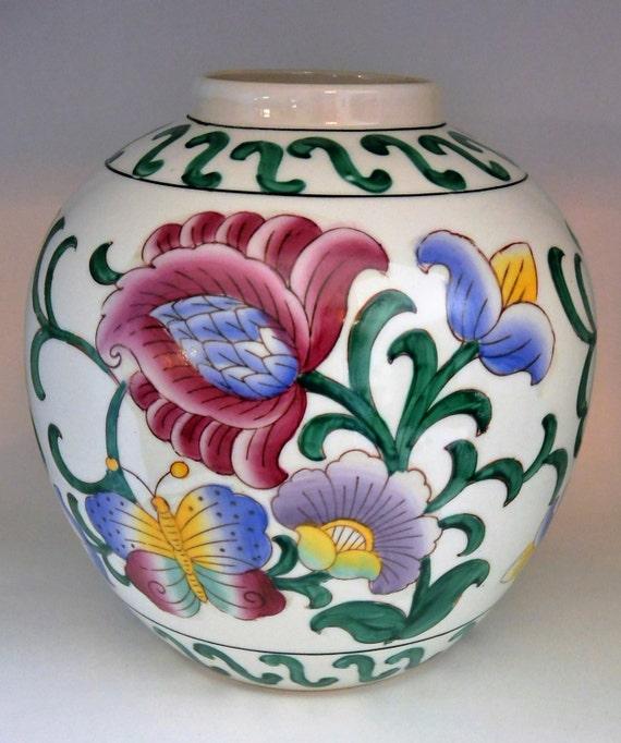 Vintage Wbi Hand Painted Floral Porcelain Vase Made In China Etsy