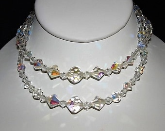 Vintage Aurora Borealis Clear Crystal Double Strand Necklace