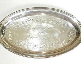Vintage GORHAM Silver Plated Oval Tray Happy Anniversary Gift Platter