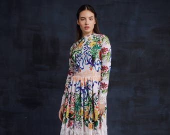 262e1011be500d White Floral Sequin Bridesmaid Pinafore Embroidered Dress   Silk Romantic  Floor Length Long Sleeve Dress   Rustic Boho Chic Evening Gown
