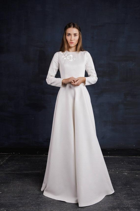 Weisser Winter Herbst Hochzeit Boden Lange Kleid Damen Etsy