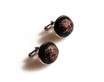 Black French Cufflinks with Copper Bits