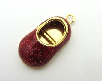 Ruby Red Slipper Baby Shoe 14k Yellow Gold Red Enamel Glitter Pendant Charm Baby Gift