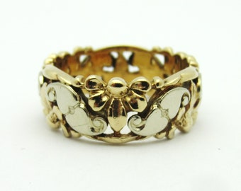 Vintage Carved Hearts and Flowers Pierced 14k Two Tone Band 7mm Wide Sz 5