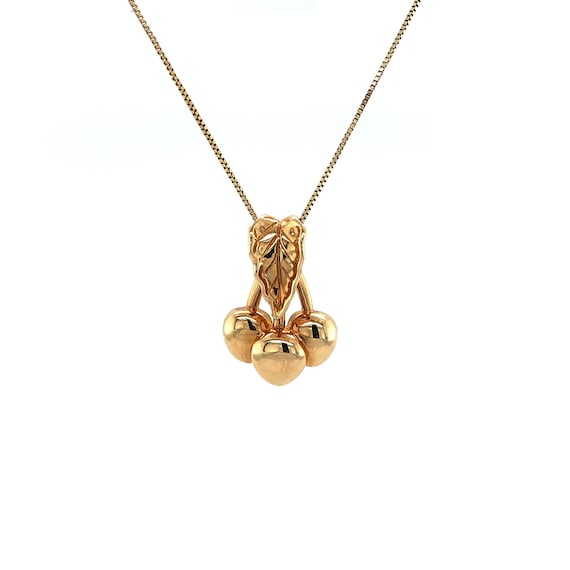 """Estate Cherries Necklace 14k Yellow Gold 18"""""""