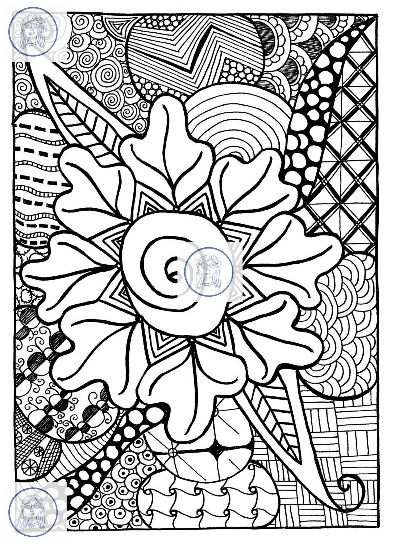 Doodle de zentangle para colorear flor de página 8.5 x 11