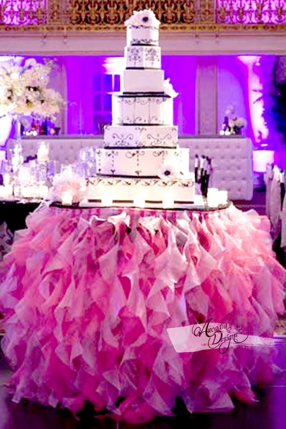 Ruffle Curly Willow Table Skirt Tulle Tutu Table