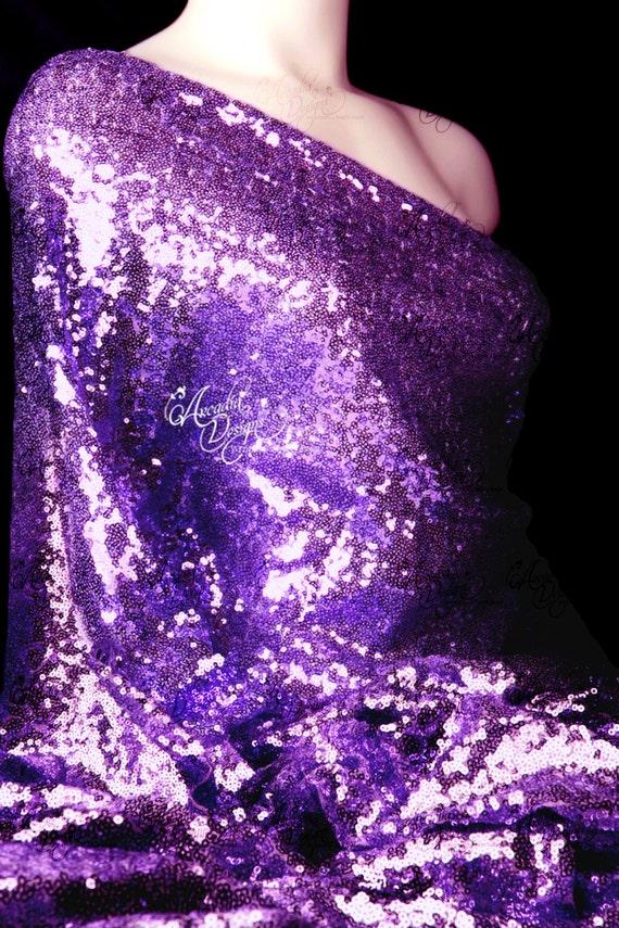 Plum Purple Sequin Fabric Sparkle Glitter Royal Purple | Etsy