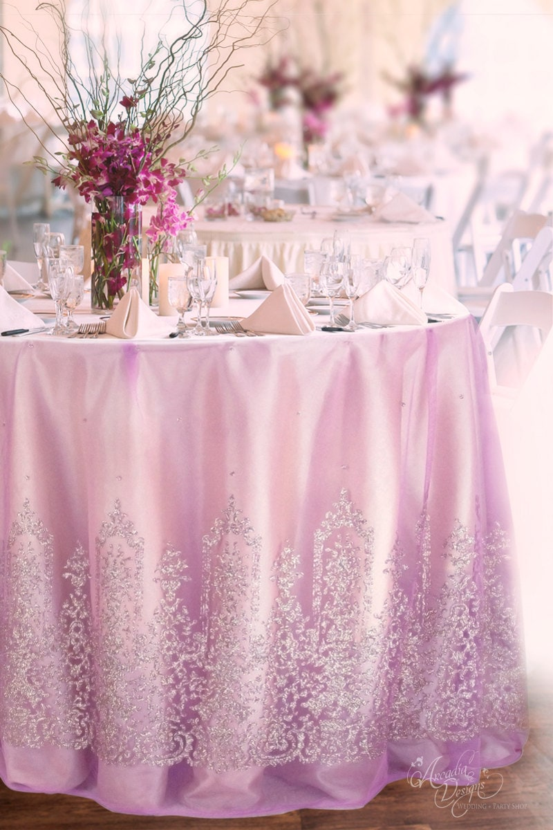 Pink Violet Tulle Table Cloth Made To Order Silver