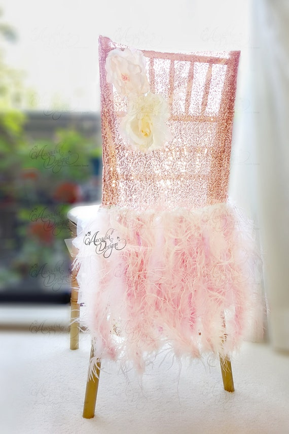 Excellent Ostrich Feather Rose Gold Sequin Chair Covers Sparkle Marilyn Feather Bridal Chair Slipcover For Luxury Wedding Head Table Bridal Shower Alphanode Cool Chair Designs And Ideas Alphanodeonline