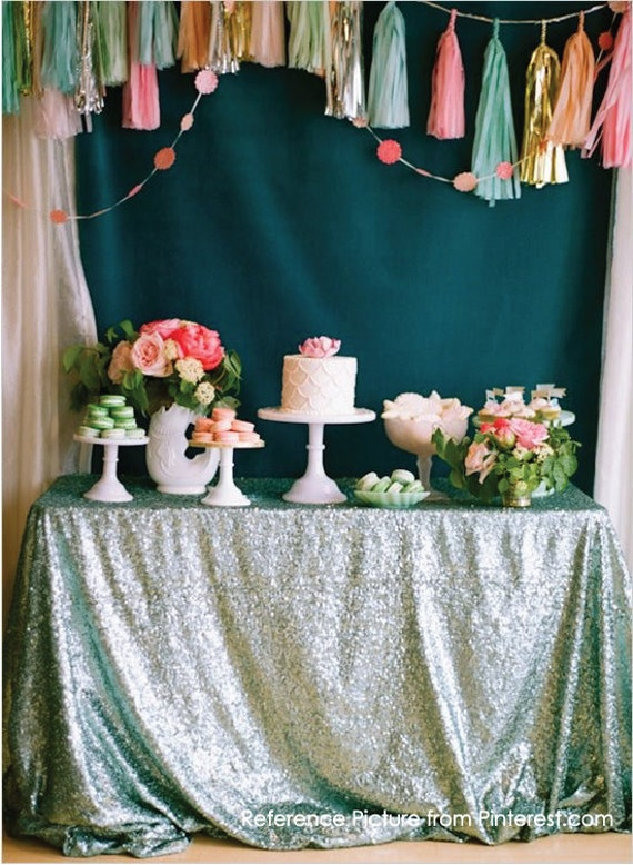 Mint Green Sequin Table Runner Glitter Wedding Table Decor Sparkly Table Linens For Bridal Shower Engagement Party Event Ready To Ship