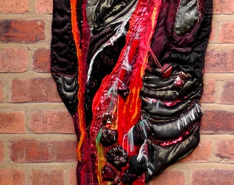 Lava Flow. Volcano. Red Hot. Fire. Wall Hanging Textile Art