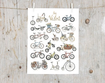 Print Bikes | Poster bicycle | Poster Illustration watercolour bikes | Penny farthing, Touring bike, Tandem, Dutch bike, Cruiser | educative