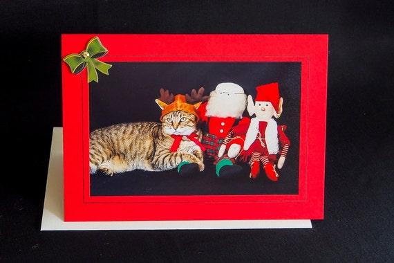 Tarjeta de Navidad Gatitos Cat 3D Adornos Hacer Toppers De Manualidades X 6