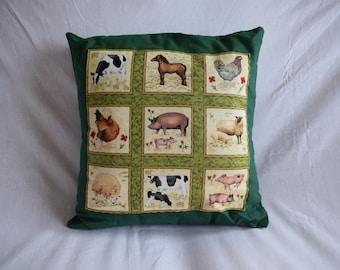 Farm Animals Cushion Cover, Farmyard Cushion, Country Life Cushion, Farm Cushion, Farm Kitchen Cushion, Farm Animals Cushion, Farm Animals